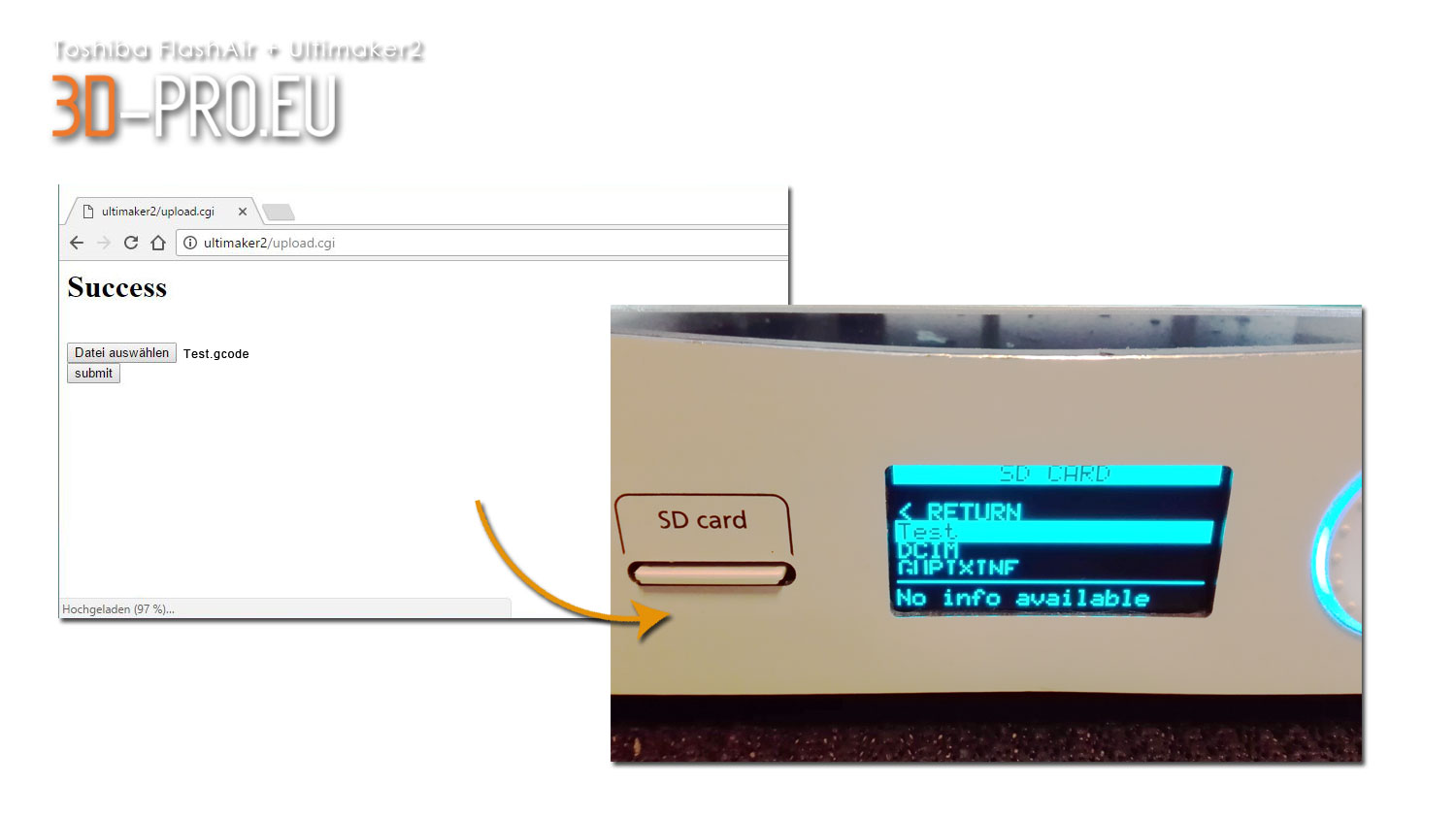 Ultimaker2 plus FlashAir SD-Card (WIFI) › 3D-PRO eU